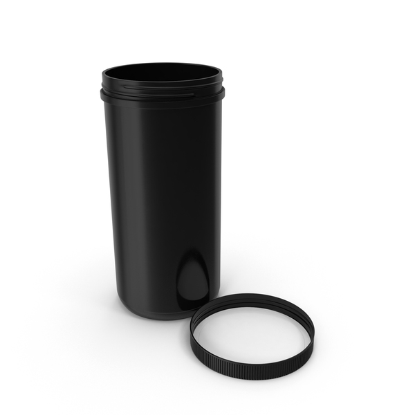 Plastic Jar Wide Mouth Straight Sided 100oz Cap Laying Black PNG & PSD Images
