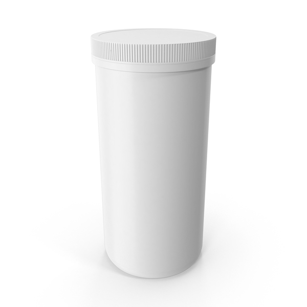 Food Container: Plastic Jar Wide Mouth Straight Sided 100oz Closed White PNG & PSD Images