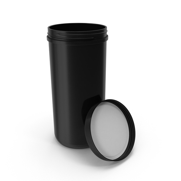 Plastic Jar Wide Mouth Straight Sided 100oz Open Black PNG & PSD Images