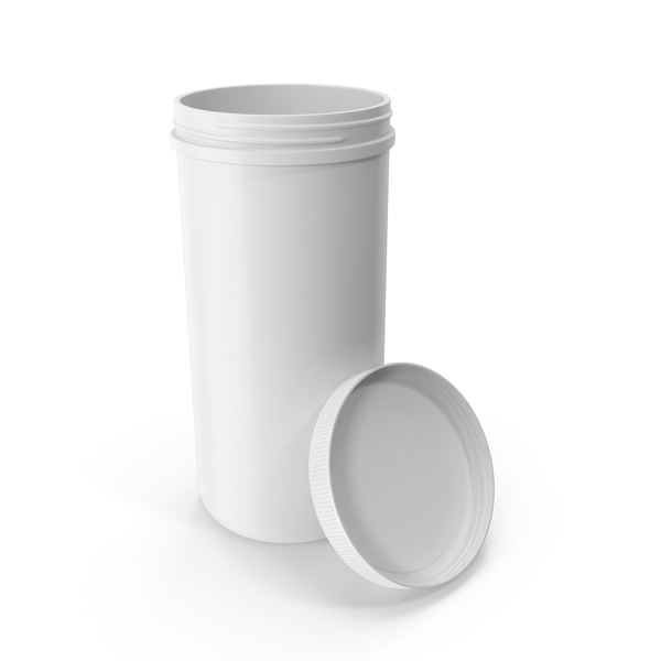 Plastic Jar Wide Mouth Straight Sided 100oz Open White PNG & PSD Images