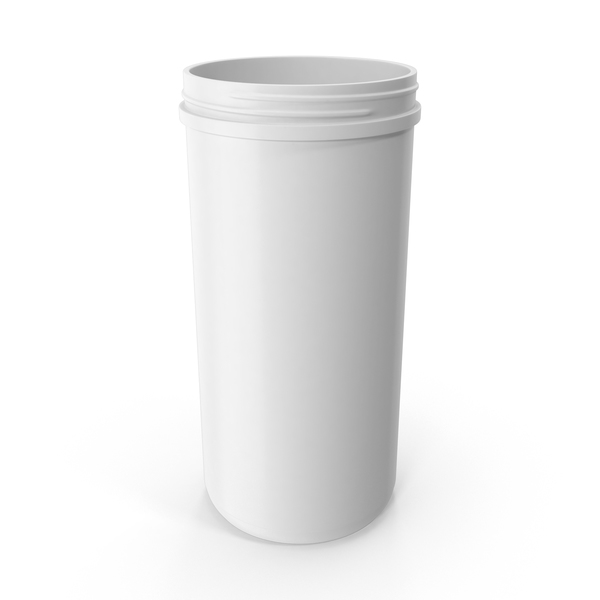 Plastic Jar Wide Mouth Straight Sided 100oz Without Cap White PNG & PSD Images