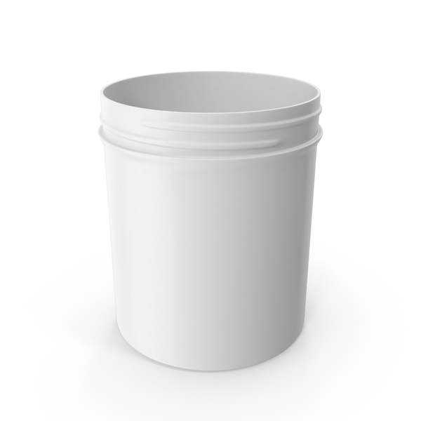 Plastic Jar Wide Mouth Straight Sided 16oz Without Cap White PNG & PSD Images