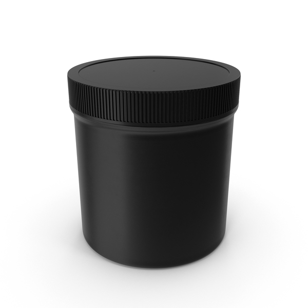 Plastic Jar Wide Mouth Straight Sided 19oz Closed Black PNG & PSD Images