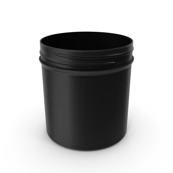 Plastic Jar Wide Mouth Straight Sided 19oz Without Cap Black PNG & PSD Images