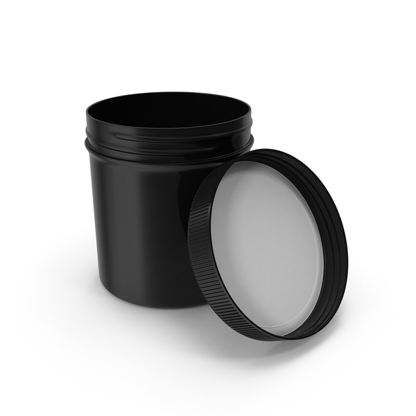 Plastic Jar Wide Mouth Straight Sided 20oz Open Black PNG & PSD Images
