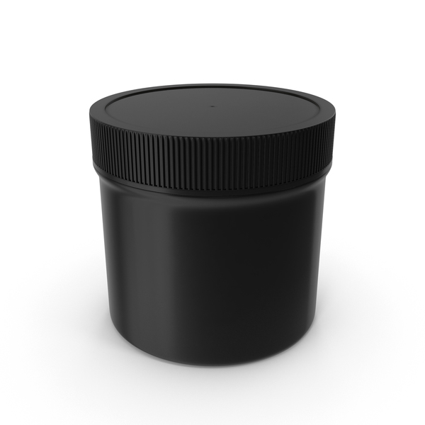 Plastic Jar Wide Mouth Straight Sided 2oz Closed Black PNG & PSD Images