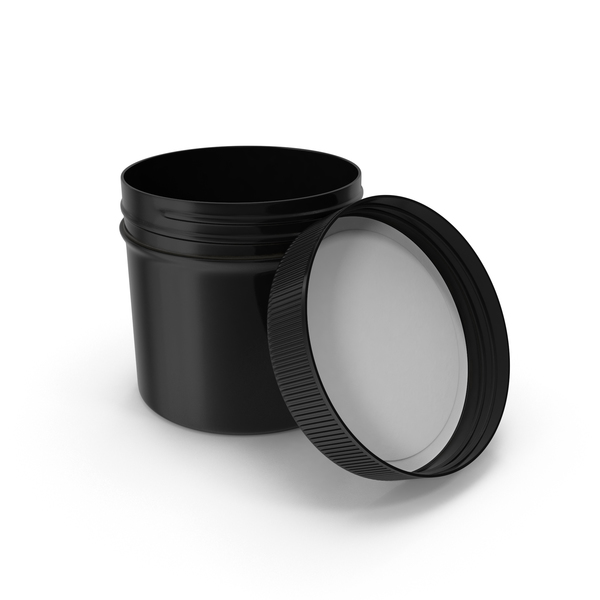 Plastic Jar Wide Mouth Straight Sided 2oz Open Black PNG & PSD Images