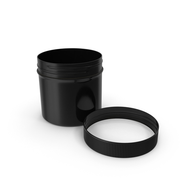 Plastic Jar Wide Mouth Straight Sided 2oz Open Cap Laying Black PNG & PSD Images