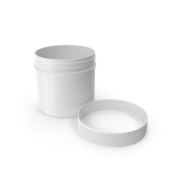 Plastic Jar Wide Mouth Straight Sided 2oz Open Cap Laying White PNG & PSD Images