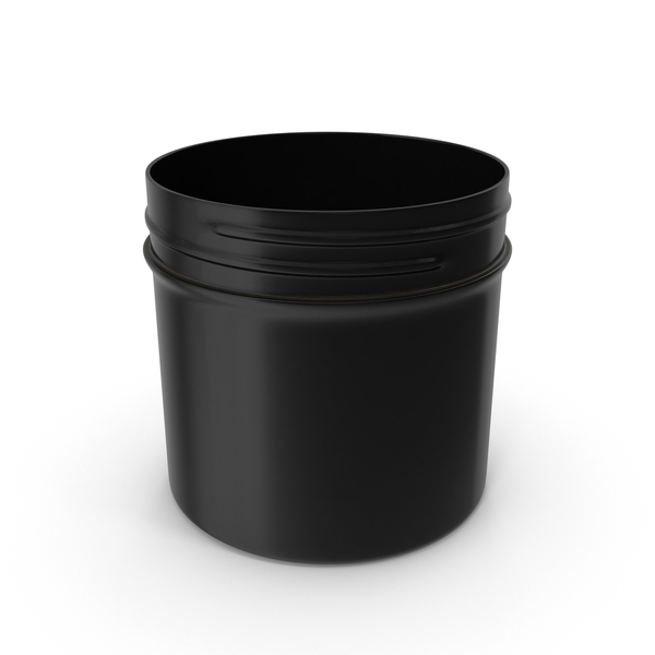 Plastic Jar Wide Mouth Straight Sided 2oz Without Cap Black PNG & PSD Images