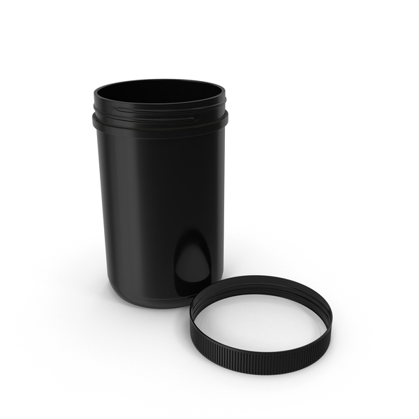 Food Container: Plastic Jar Wide Mouth Straight Sided 40oz Cap Laying Black PNG & PSD Images