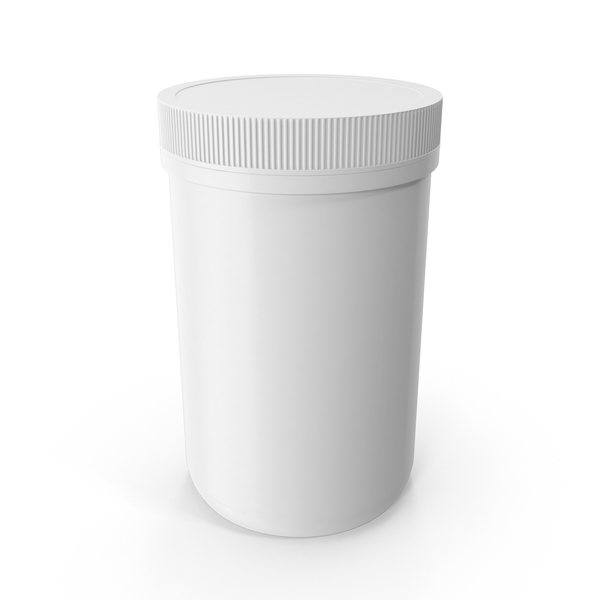 Plastic Jar Wide Mouth Straight Sided 40oz Closed White PNG & PSD Images