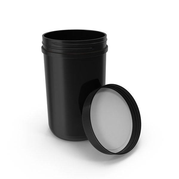 Food Container: Plastic Jar Wide Mouth Straight Sided 40oz Open Black PNG & PSD Images