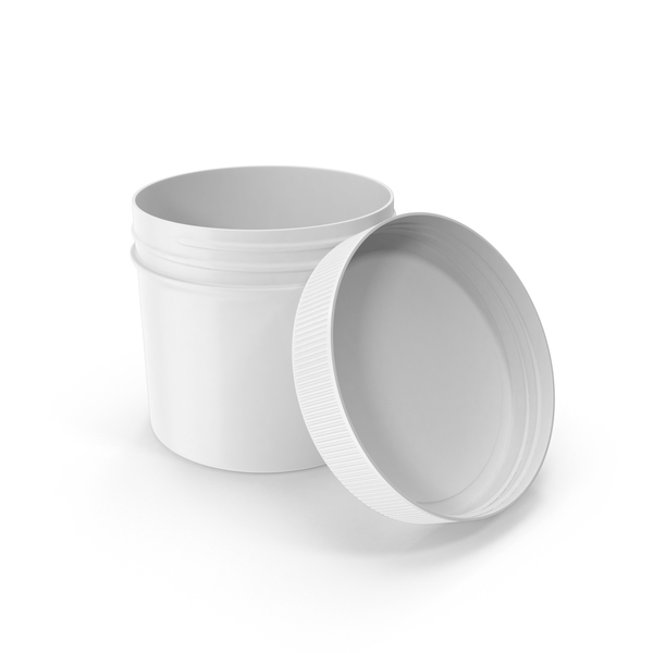 Plastic Jar Wide Mouth Straight Sided 4oz Open White PNG & PSD Images