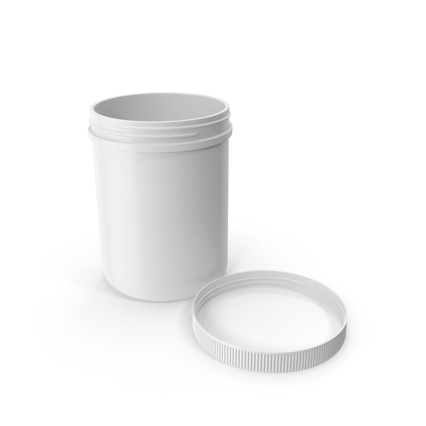 Food Container: Plastic Jar Wide Mouth Straight Sided 60oz Cap Laying White PNG & PSD Images