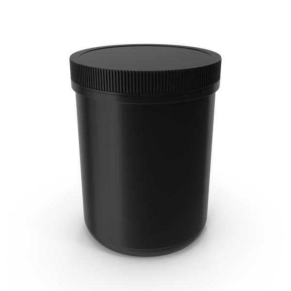 Plastic Jar Wide Mouth Straight Sided 60oz Closed Black PNG & PSD Images