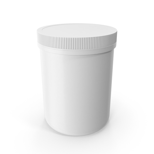 Plastic Jar Wide Mouth Straight Sided 60oz Closed White PNG & PSD Images
