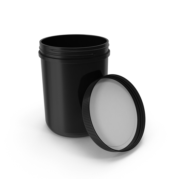Plastic Jar Wide Mouth Straight Sided 60oz Open Black PNG & PSD Images