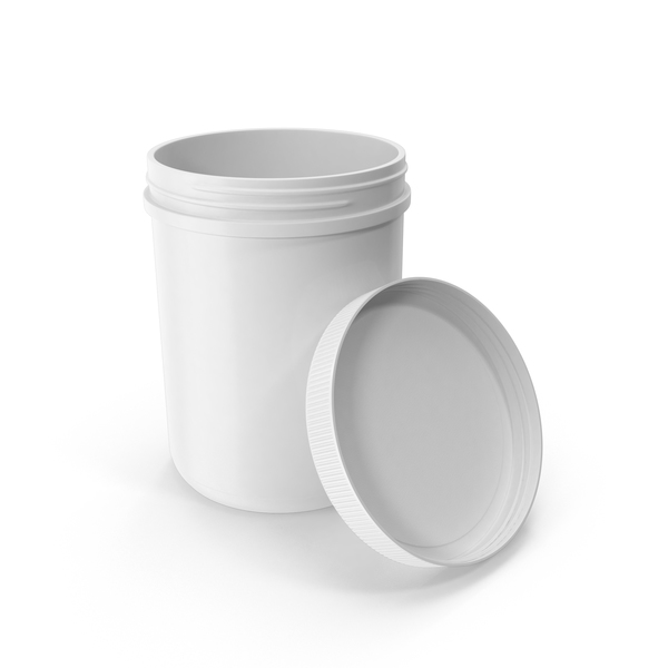Plastic Jar Wide Mouth Straight Sided 60oz Open White PNG & PSD Images