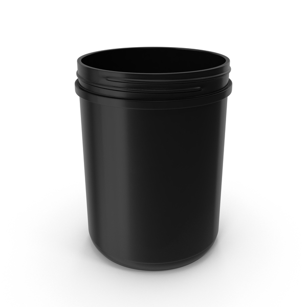 Plastic Jar Wide Mouth Straight Sided 60oz Without Cap Black PNG & PSD Images
