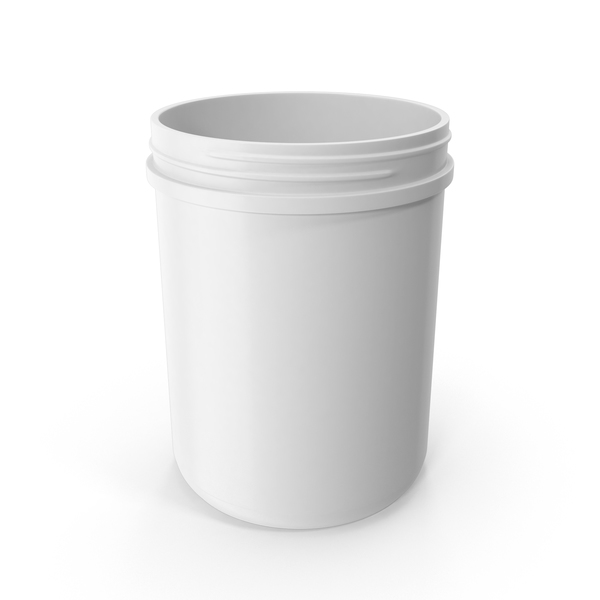 Plastic Jar Wide Mouth Straight Sided 60oz Without Cap White PNG & PSD Images