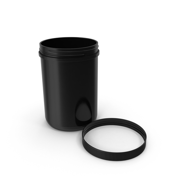 Plastic Jar Wide Mouth Straight Sided 70oz Cap Laying Black PNG & PSD Images