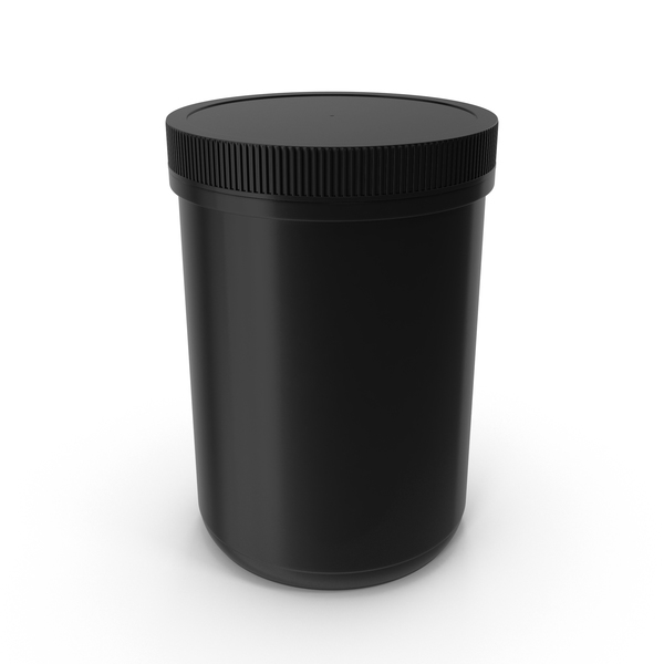 Plastic Jar Wide Mouth Straight Sided 70oz Closed Black PNG & PSD Images