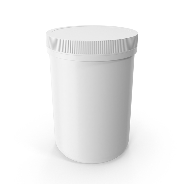 Plastic Jar Wide Mouth Straight Sided 70oz Closed White PNG & PSD Images