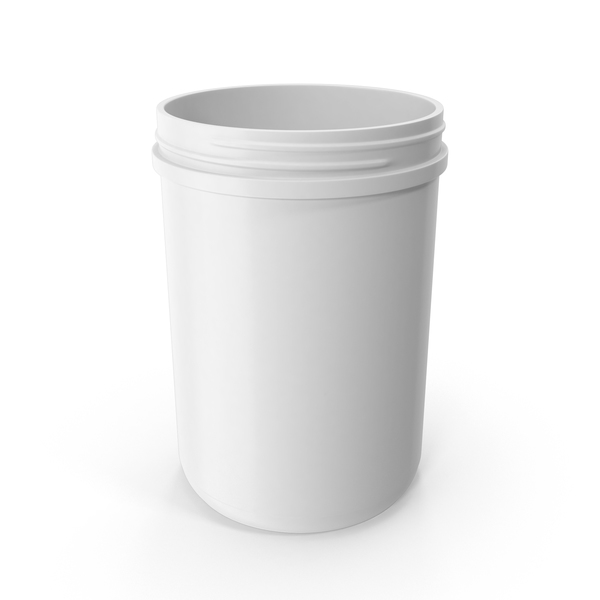 Plastic Jar Wide Mouth Straight Sided 70oz Without Cap White PNG & PSD Images