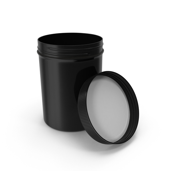 Plastic Jar Wide Mouth Straight Sided 8oz Open Black PNG & PSD Images