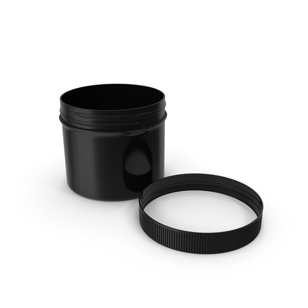 Plastic Jar Wide Mouth Straight Sided Short 32oz Cap Laying Black PNG & PSD Images