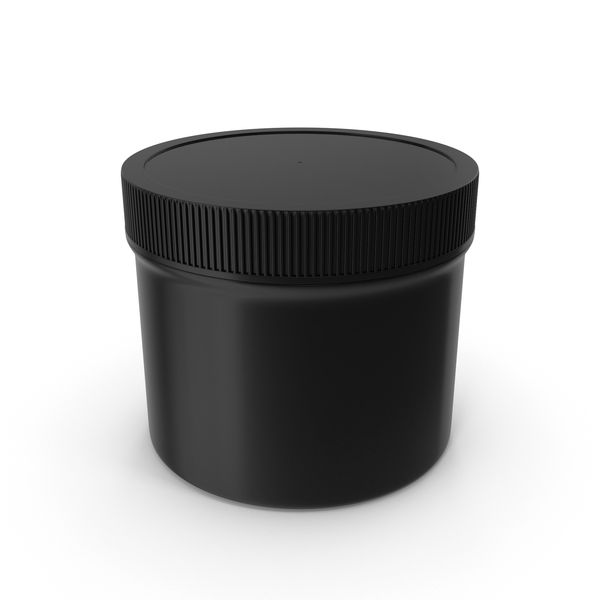Plastic Jar Wide Mouth Straight Sided Short 32oz Closed Black PNG & PSD Images