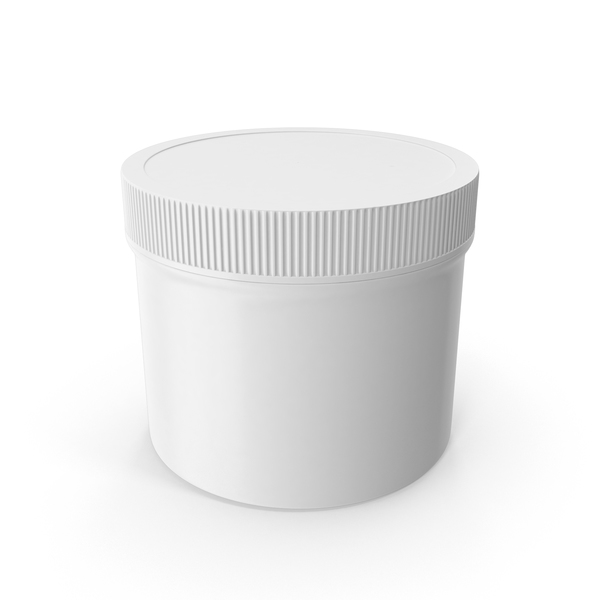 Plastic Jar Wide Mouth Straight Sided Short 32oz Closed White PNG & PSD Images