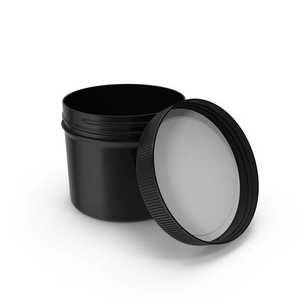 Food Container: Plastic Jar Wide Mouth Straight Sided Short 32oz Open Black PNG & PSD Images
