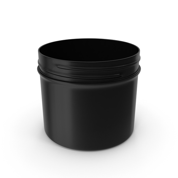 Plastic Jar Wide Mouth Straight Sided Short 32oz Without Cap Black PNG & PSD Images
