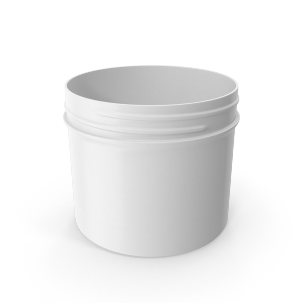 Plastic Jar Wide Mouth Straight Sided Short 32oz Without Cap White PNG & PSD Images