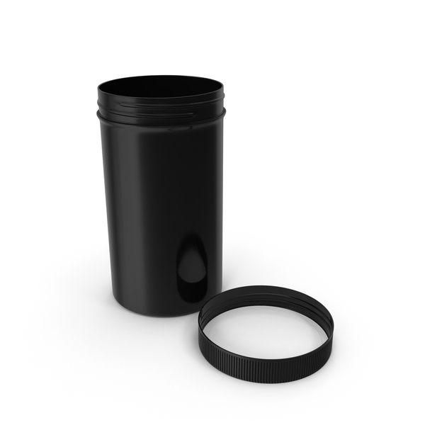 Plastic Jar Wide Mouth Straight Sided Tall 32oz Cap Laying Black PNG & PSD Images