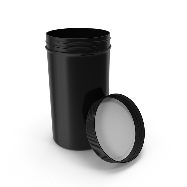 Plastic Jar Wide Mouth Straight Sided Tall 32oz Open Black PNG & PSD Images
