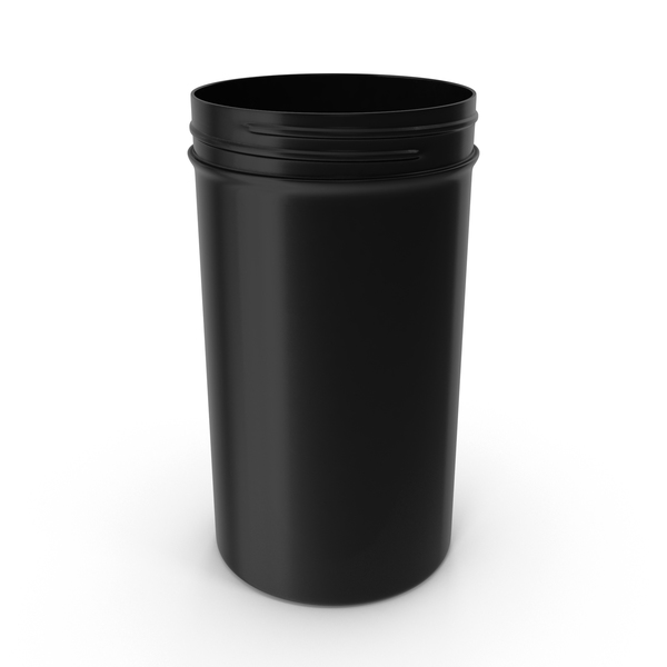 Plastic Jar Wide Mouth Straight Sided Tall 32oz Without Cap Black PNG & PSD Images