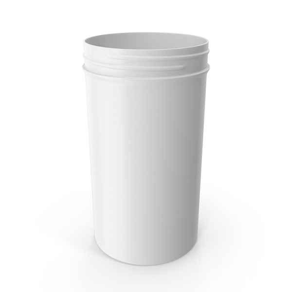 Plastic Jar Wide Mouth Straight Sided Tall 32oz Without Cap White PNG & PSD Images