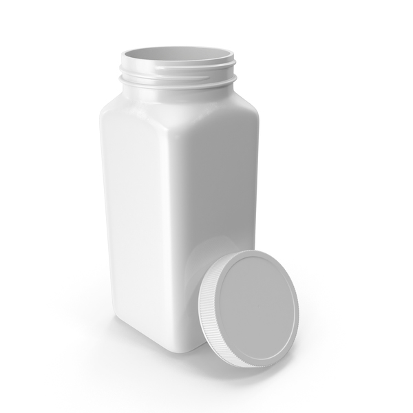 Plastic Square Bottle 16oz White 480ml Open PNG & PSD Images