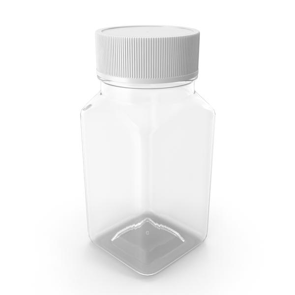 Plastic Square Bottle 2oz 60ml Closed PNG & PSD Images