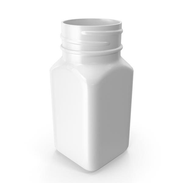 Plastic Square Bottle 2oz 60ml White No Cap PNG & PSD Images