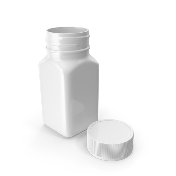 Plastic Square Bottle 2oz 60ml White Open PNG & PSD Images