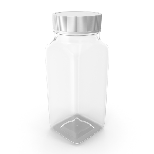 Plastic Square Bottle 4oz 120ml Closed PNG & PSD Images
