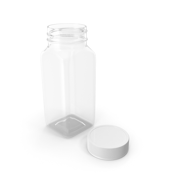 Plastic Square Bottle 4oz 120ml Open PNG & PSD Images