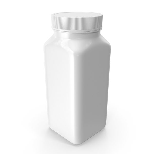 Plastic Square Bottle 8oz White 240ml Closed PNG & PSD Images