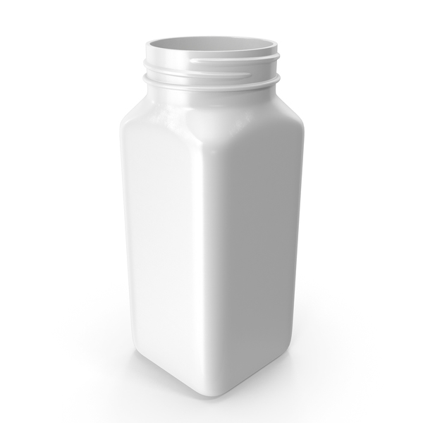 Plastic Square Bottle 8oz White 240ml No Cap PNG & PSD Images