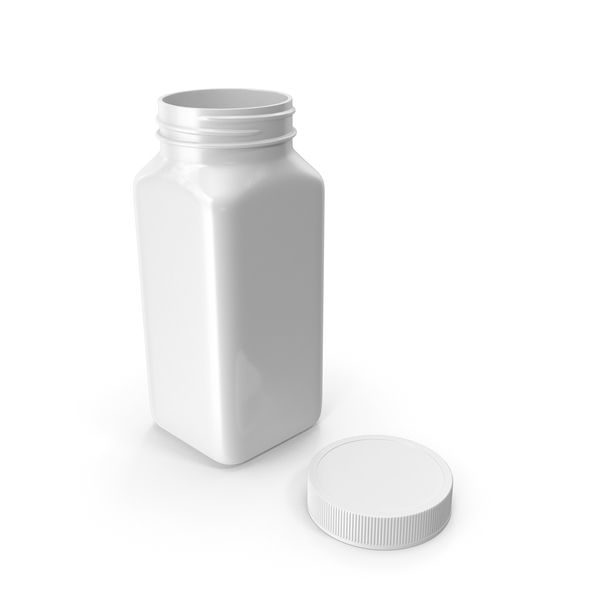 Plastic Square Bottle 8oz White 240ml Open PNG & PSD Images