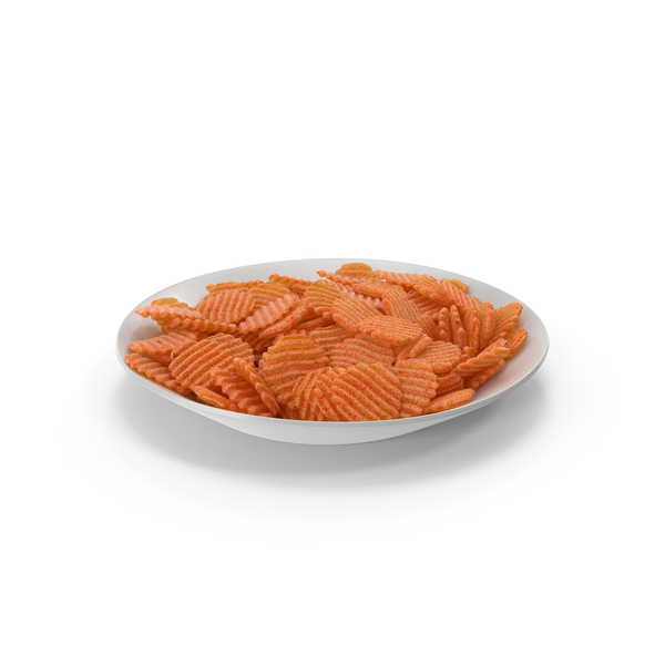 Plate with BBQ Crinkle Cut Wavy Potato Chips PNG & PSD Images